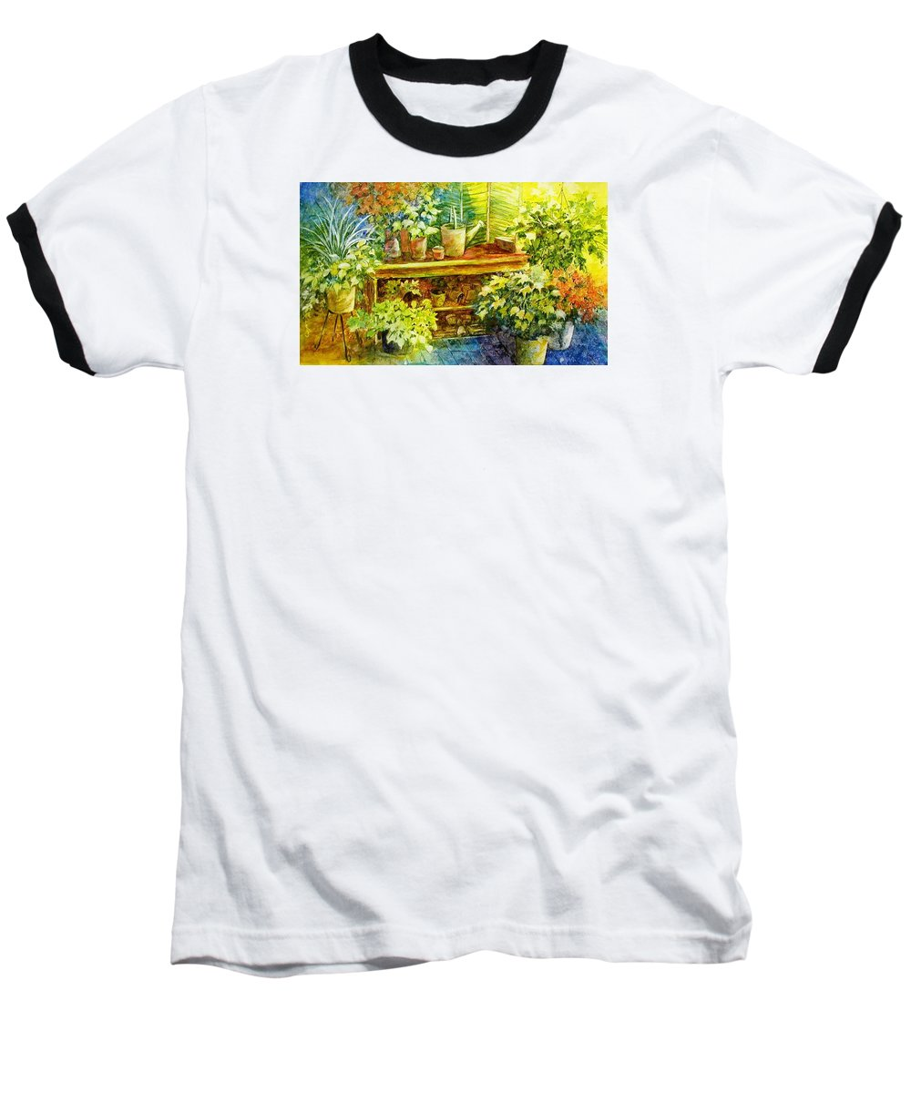 Greenhouse;plants;flowers;gardener;workbench;sprinkling Can;contemporary Baseball T-Shirt featuring the painting Gardener's Joy by Lois Mountz