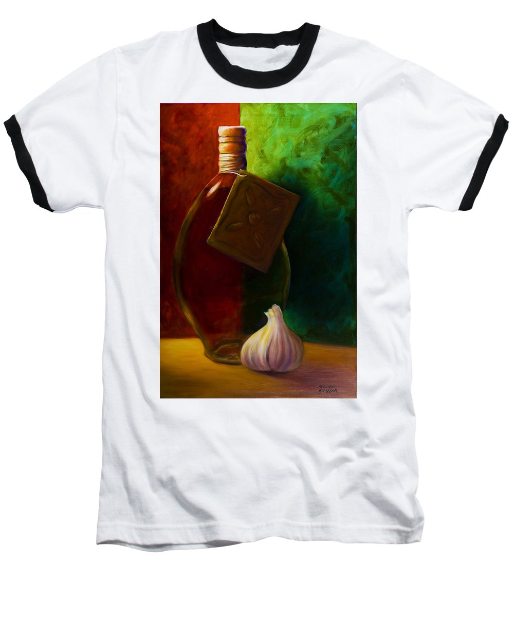 Shannon Grissom Baseball T-Shirt featuring the painting Garlic And Oil by Shannon Grissom