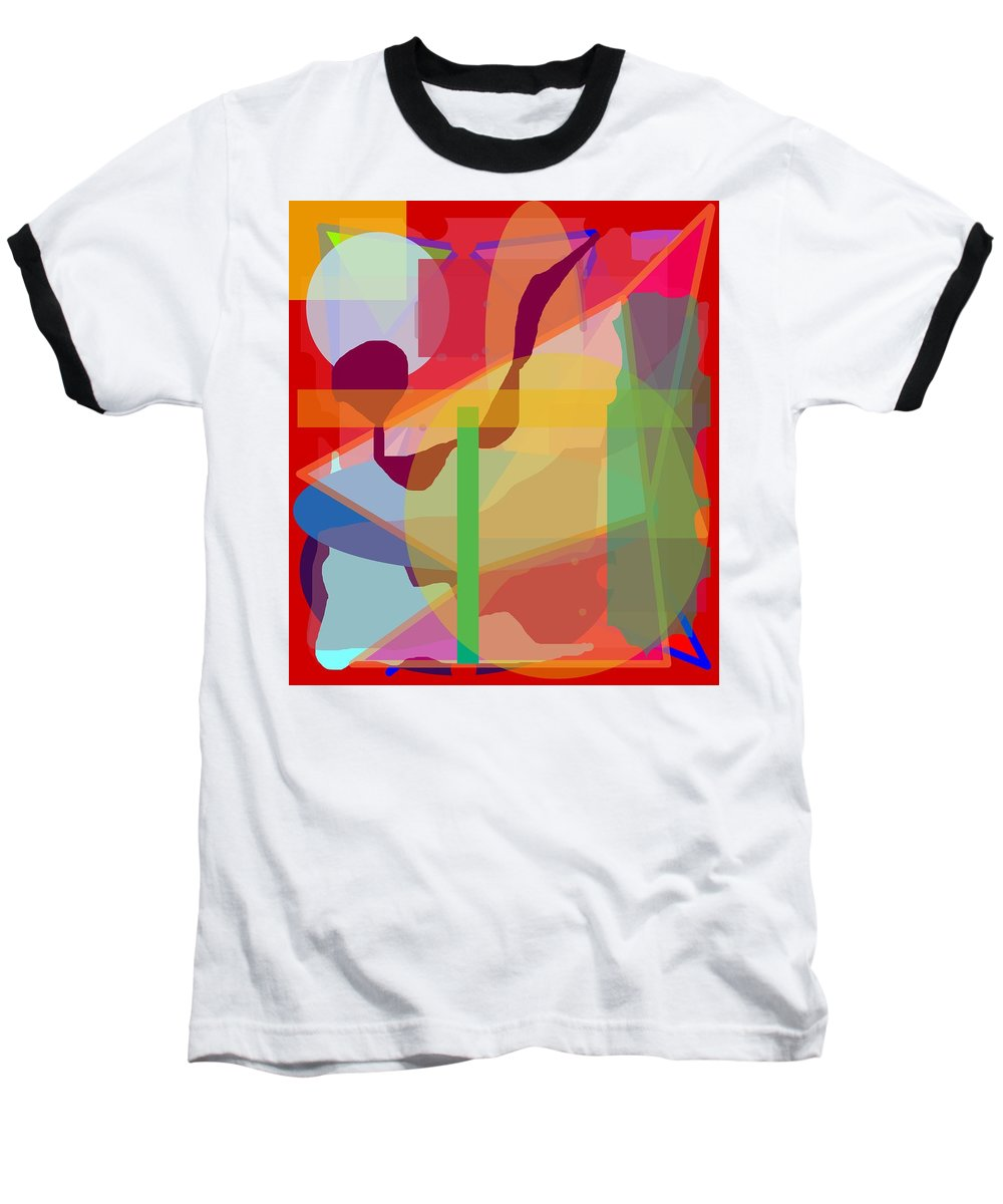 Abstract Baseball T-Shirt featuring the painting Geo Frenzy by Pharris Art