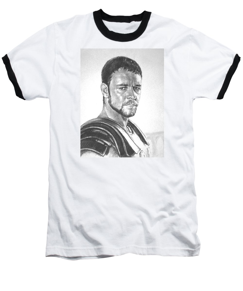 Portraits Baseball T-Shirt featuring the drawing Gladiator by Iliyan Bozhanov
