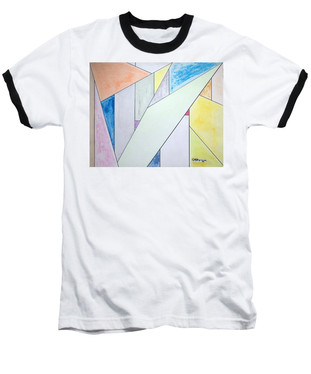 Buildings Baseball T-Shirt featuring the mixed media Glass-scrapers by J R Seymour