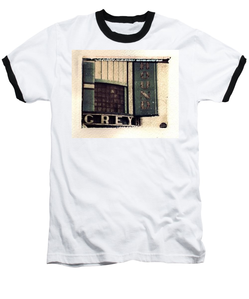 Polaroid Transfer Baseball T-Shirt featuring the photograph Go Greyhound And Leave The Driving To Us by Jane Linders