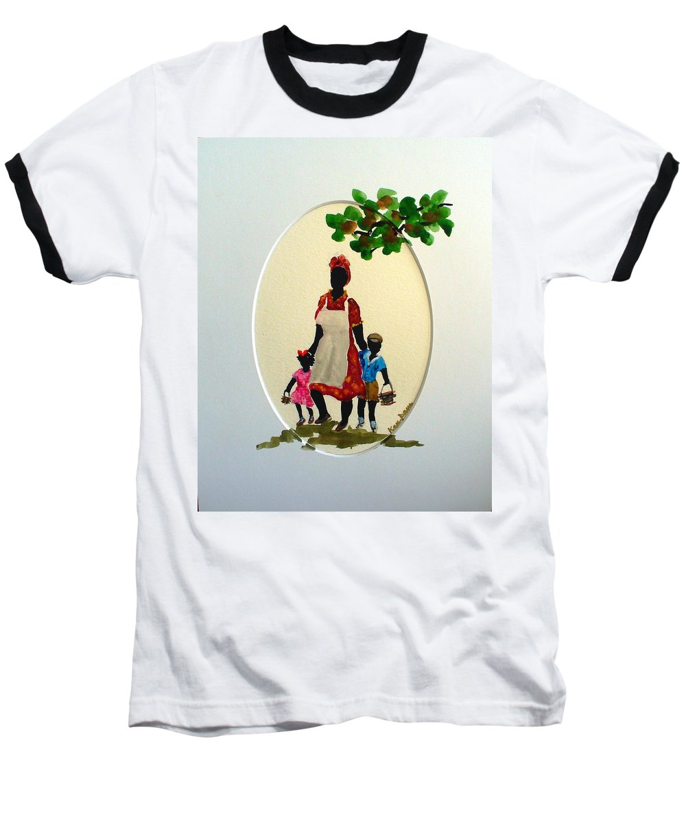 Caribbean Children Baseball T-Shirt featuring the painting Going To School by Karin Dawn Kelshall- Best