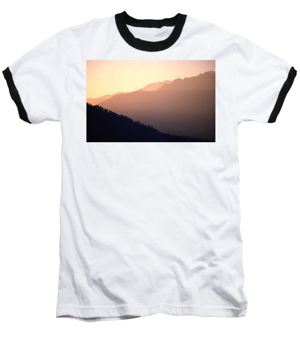 Langtang Baseball T-Shirt featuring the photograph Golden Mountains by Patrick Klauss