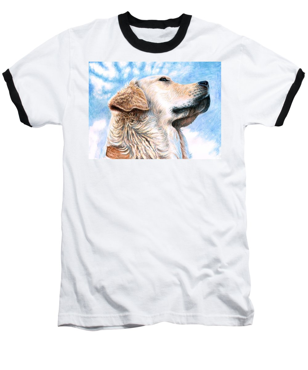 Dog Baseball T-Shirt featuring the painting Golden Retriever by Nicole Zeug