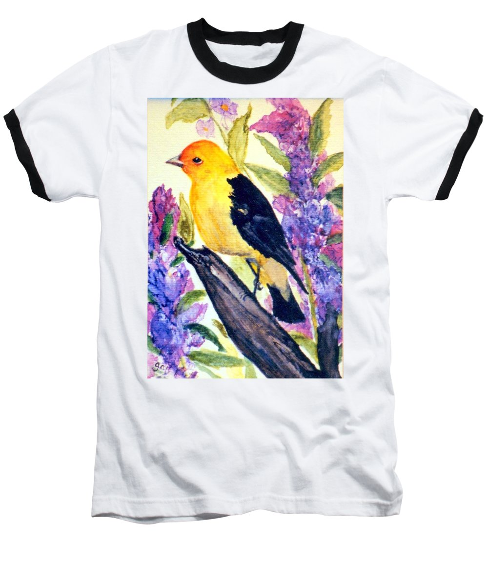 Birds Baseball T-Shirt featuring the painting Goldfinch by Gail Kirtz