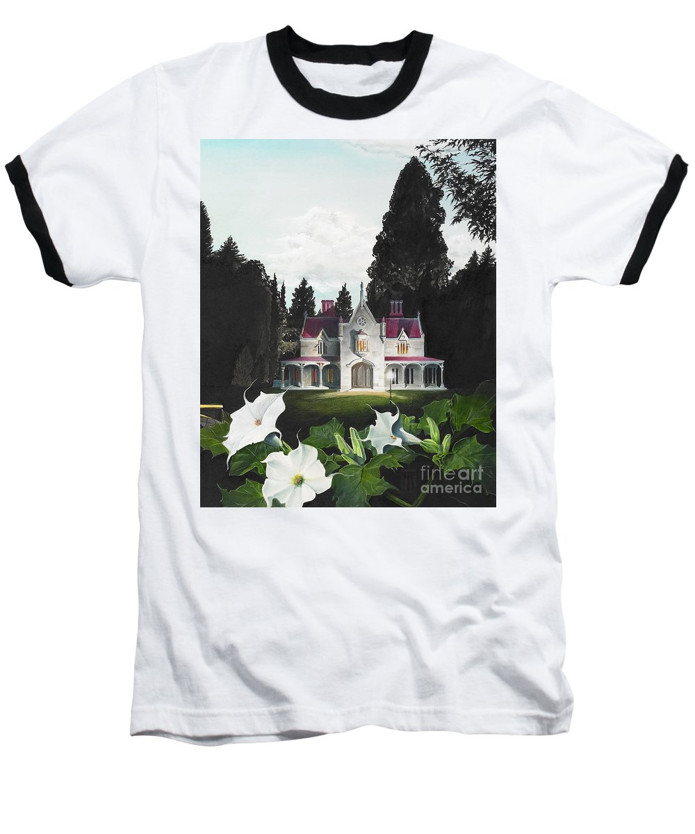 Fantasy Baseball T-Shirt featuring the painting Gothic Country House Detail From Night Bridge by Melissa A Benson