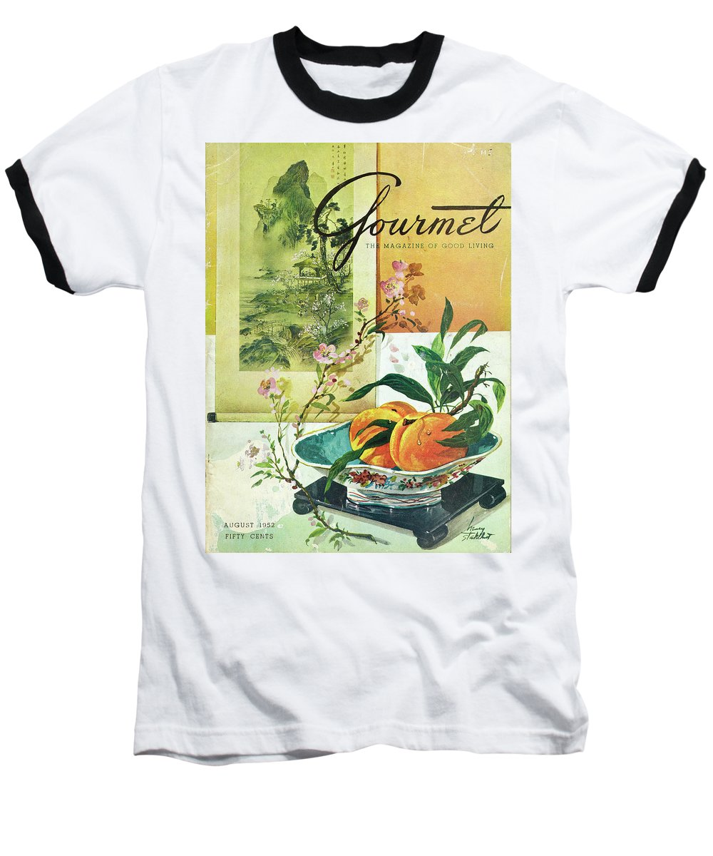 Food Baseball T-Shirt featuring the photograph Gourmet Cover Featuring A Bowl Of Peaches by Henry Stahlhut