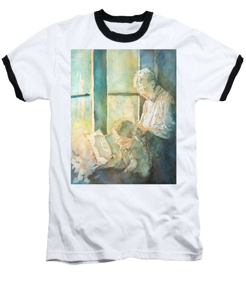 Family Baseball T-Shirt featuring the painting Gramdma Braids by Jenny Armitage