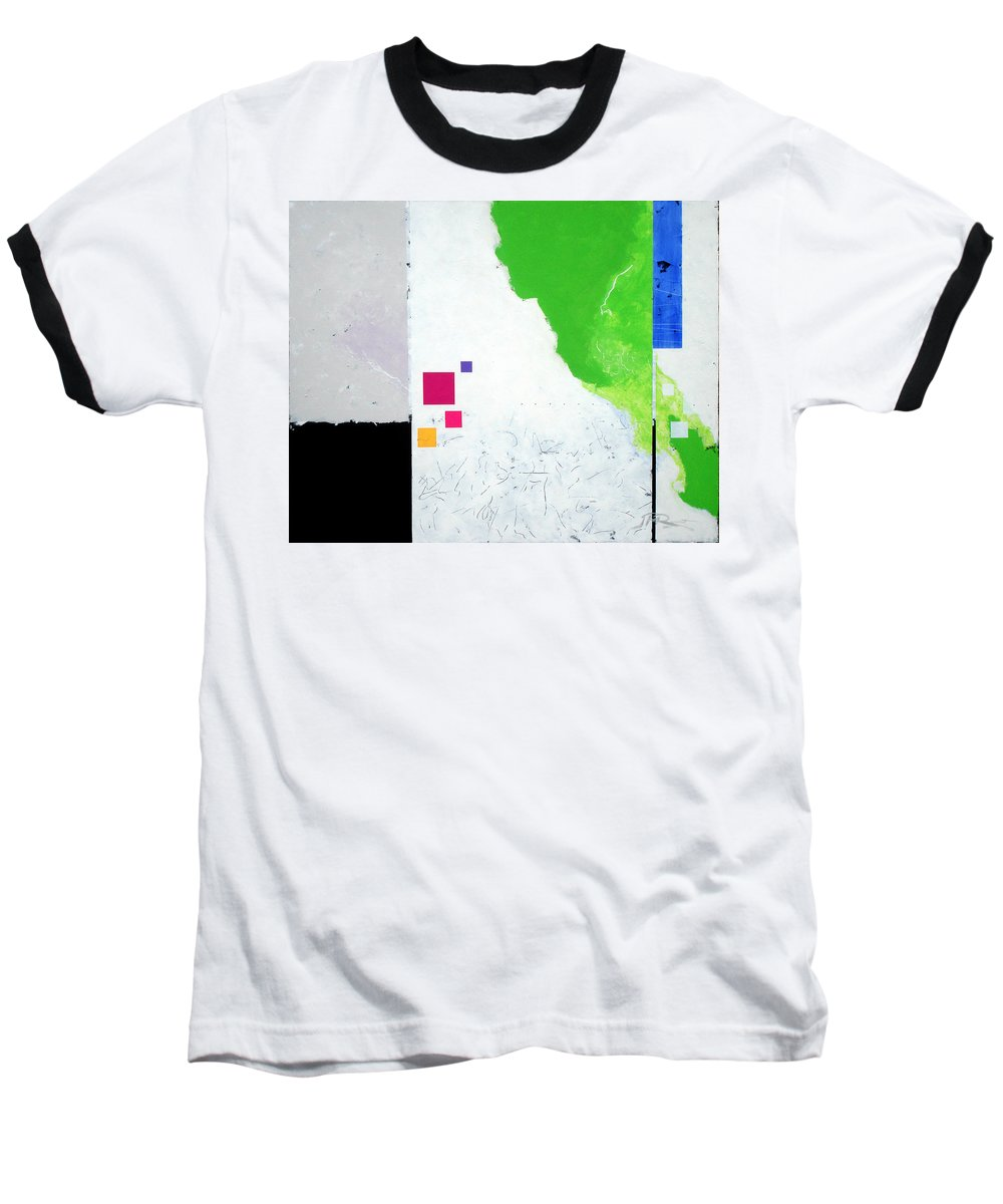 Abstract Baseball T-Shirt featuring the painting Green Movement by Jean Pierre Rousselet