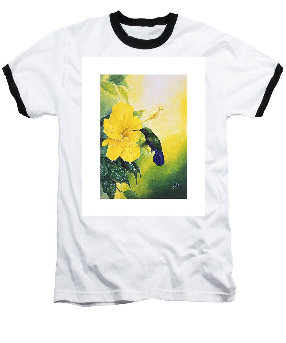 Chris Cox Baseball T-Shirt featuring the painting Green-throated Carib Hummingbird And Yellow Hibiscus by Christopher Cox