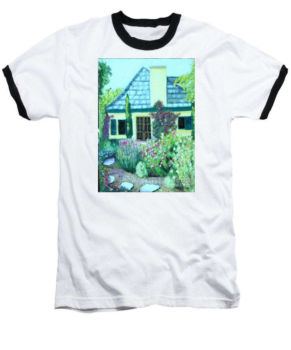 Cottage Baseball T-Shirt featuring the painting Guest Cottage by Laurie Morgan