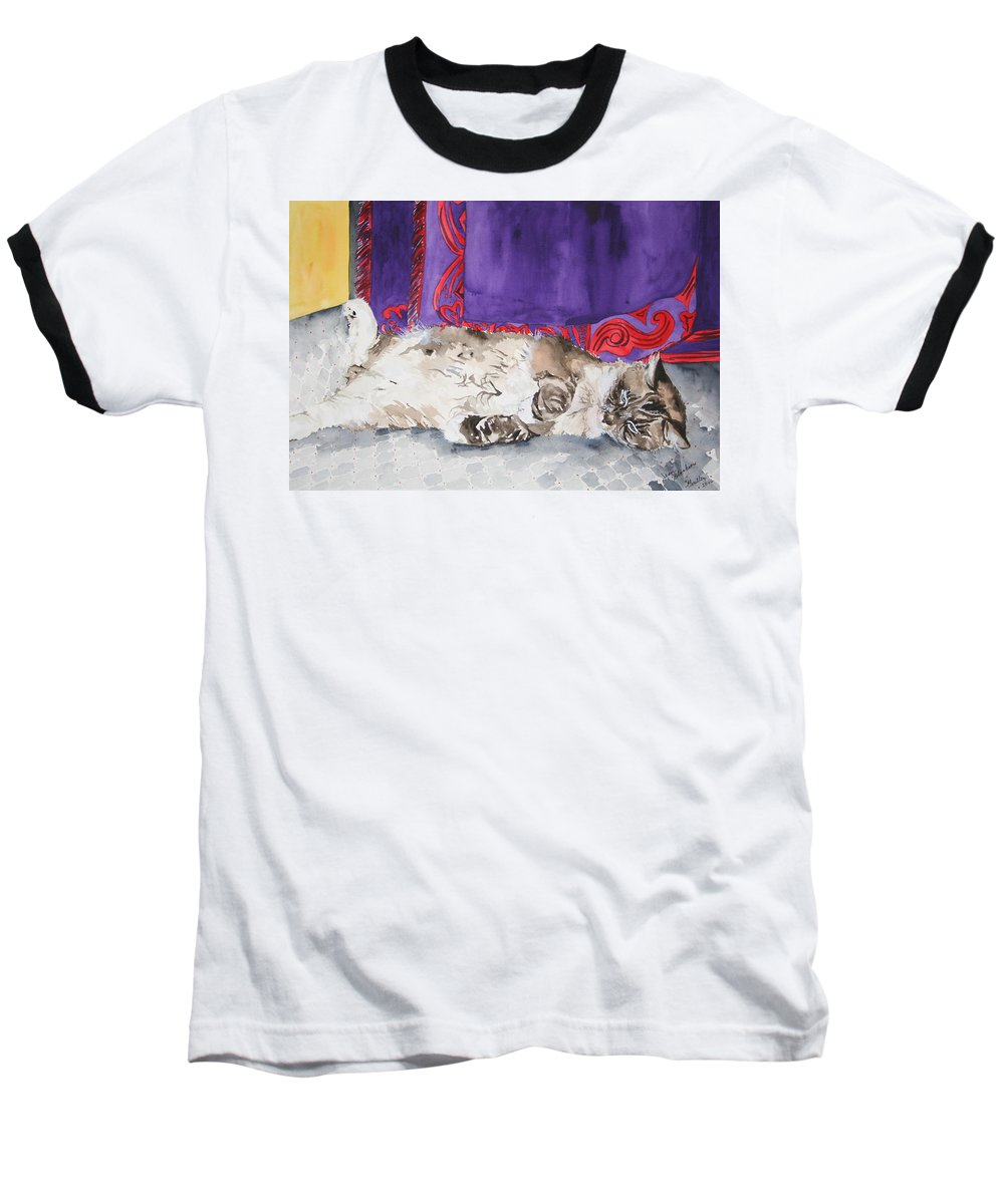 Cat Baseball T-Shirt featuring the painting Guilley by Jean Blackmer