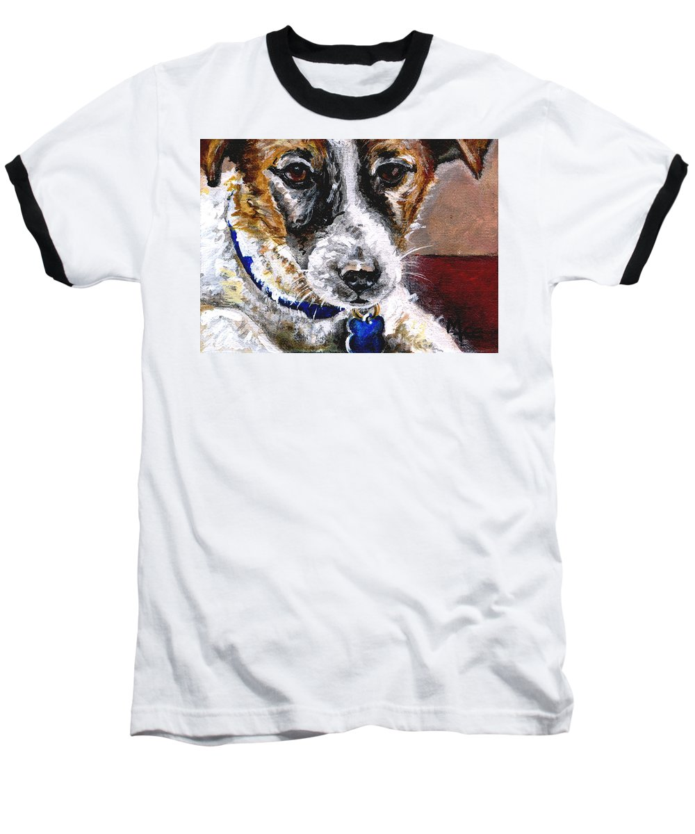 Chartiy Baseball T-Shirt featuring the painting Gunter From Muttville by Mary-Lee Sanders