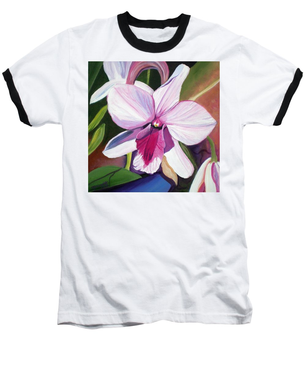 Kauai Baseball T-Shirt featuring the painting Happy Orchid by Marionette Taboniar