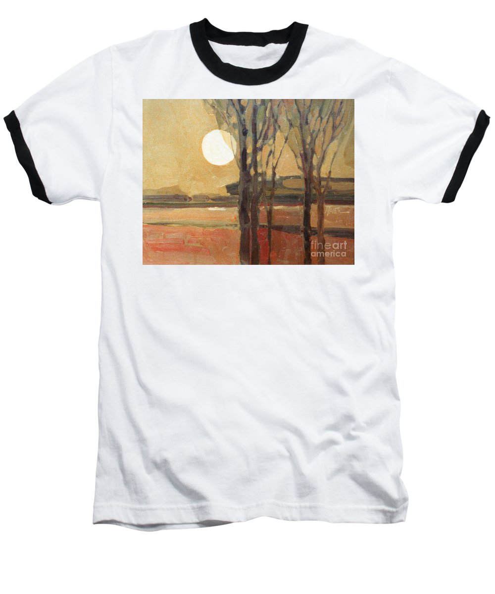 Sunset Baseball T-Shirt featuring the painting Harvest Moon by Donald Maier
