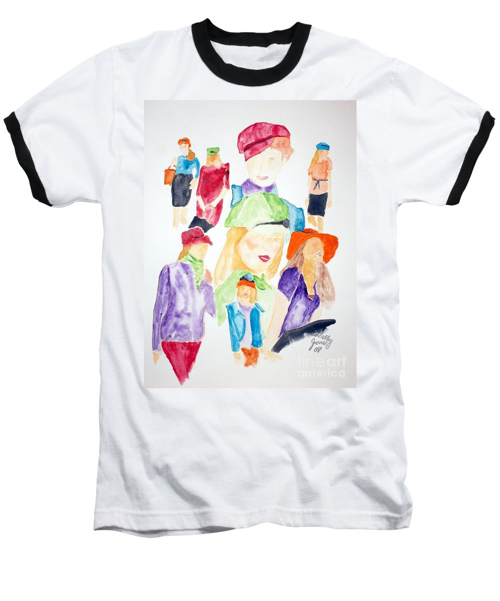 Hats Baseball T-Shirt featuring the painting Hats by Shelley Jones
