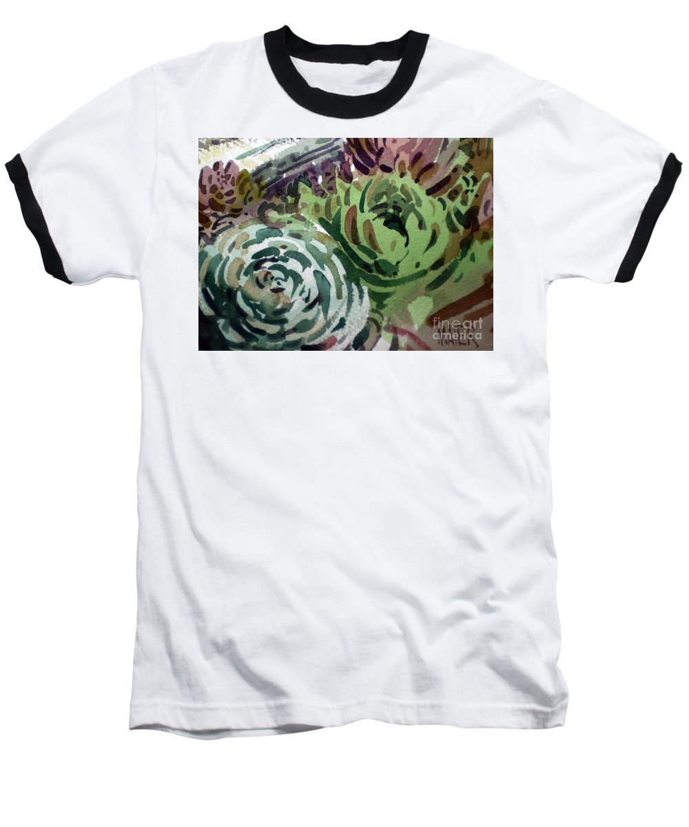 Succulent Plants Baseball T-Shirt featuring the painting Hen And Chicks by Donald Maier