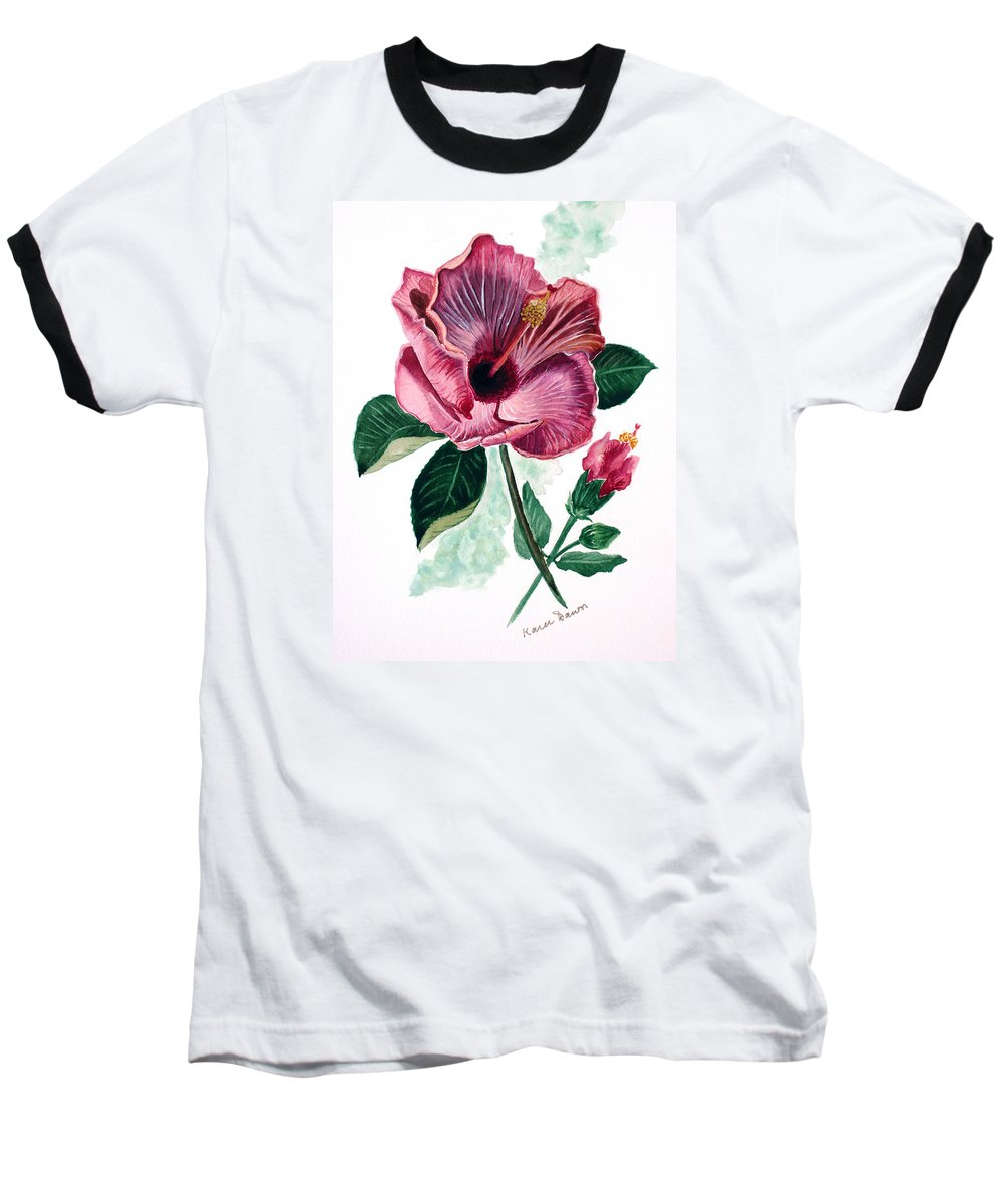 Flora Painting L Hibiscus Painting Pink Flower Painting Greeting Card Painting Baseball T-Shirt featuring the painting Hibiscus Dusky Rose by Karin Dawn Kelshall- Best
