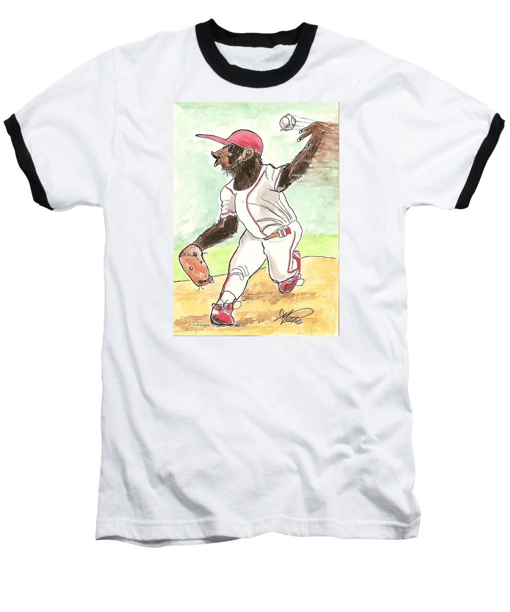 Baseball Baseball T-Shirt featuring the drawing Hit This by George I Perez