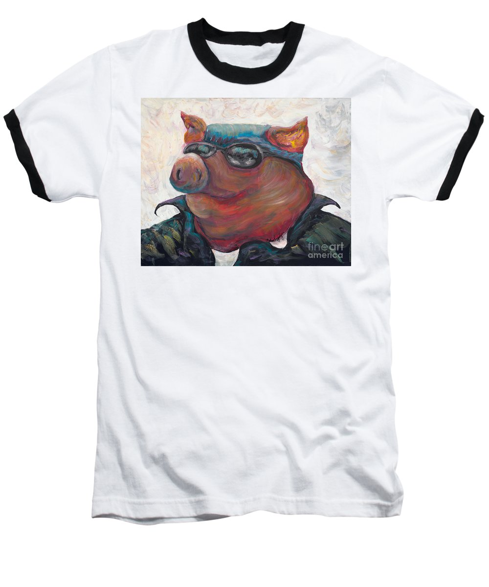Hog Baseball T-Shirt featuring the painting Hogley Davidson by Nadine Rippelmeyer