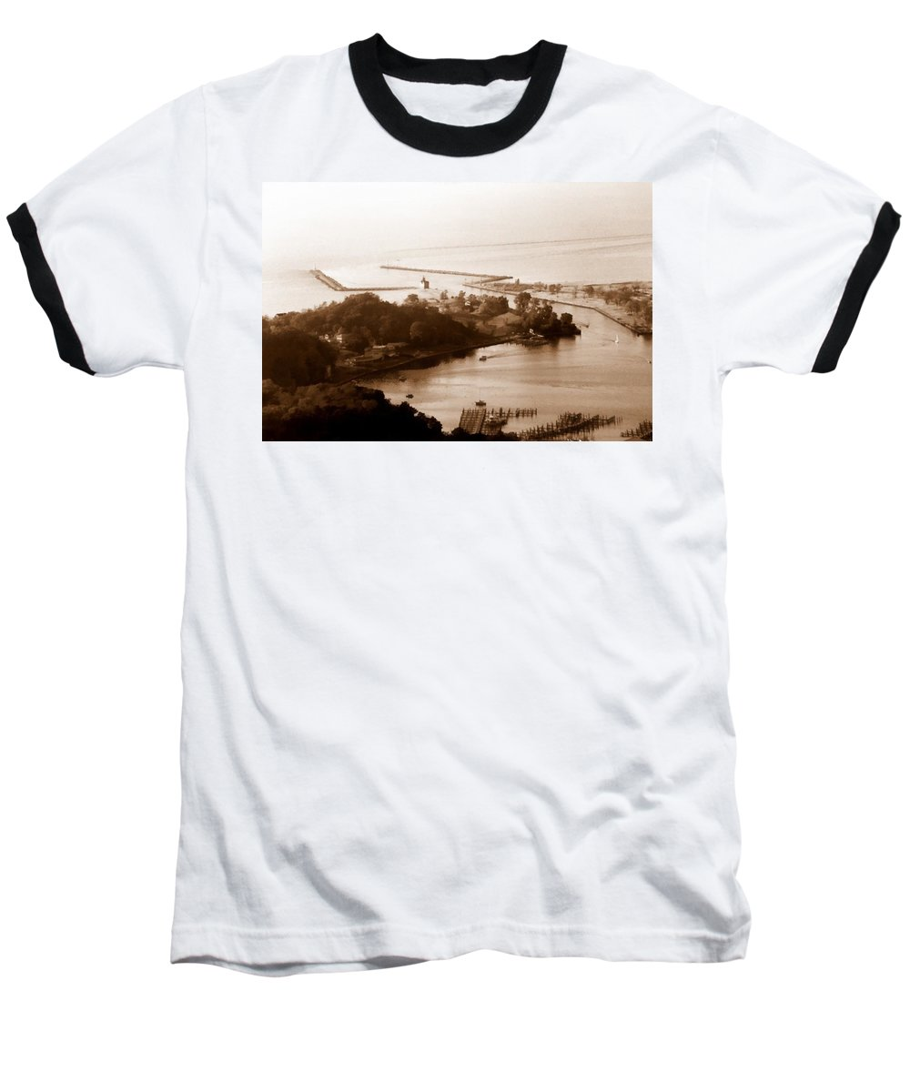Holland Baseball T-Shirt featuring the photograph Holland Michigan Harbor Big Red Aerial Photo by Michelle Calkins