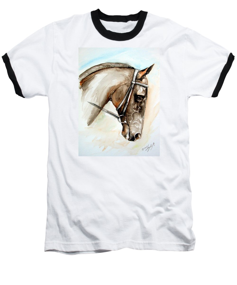 Horse Baseball T-Shirt featuring the painting Horse Head by Leyla Munteanu