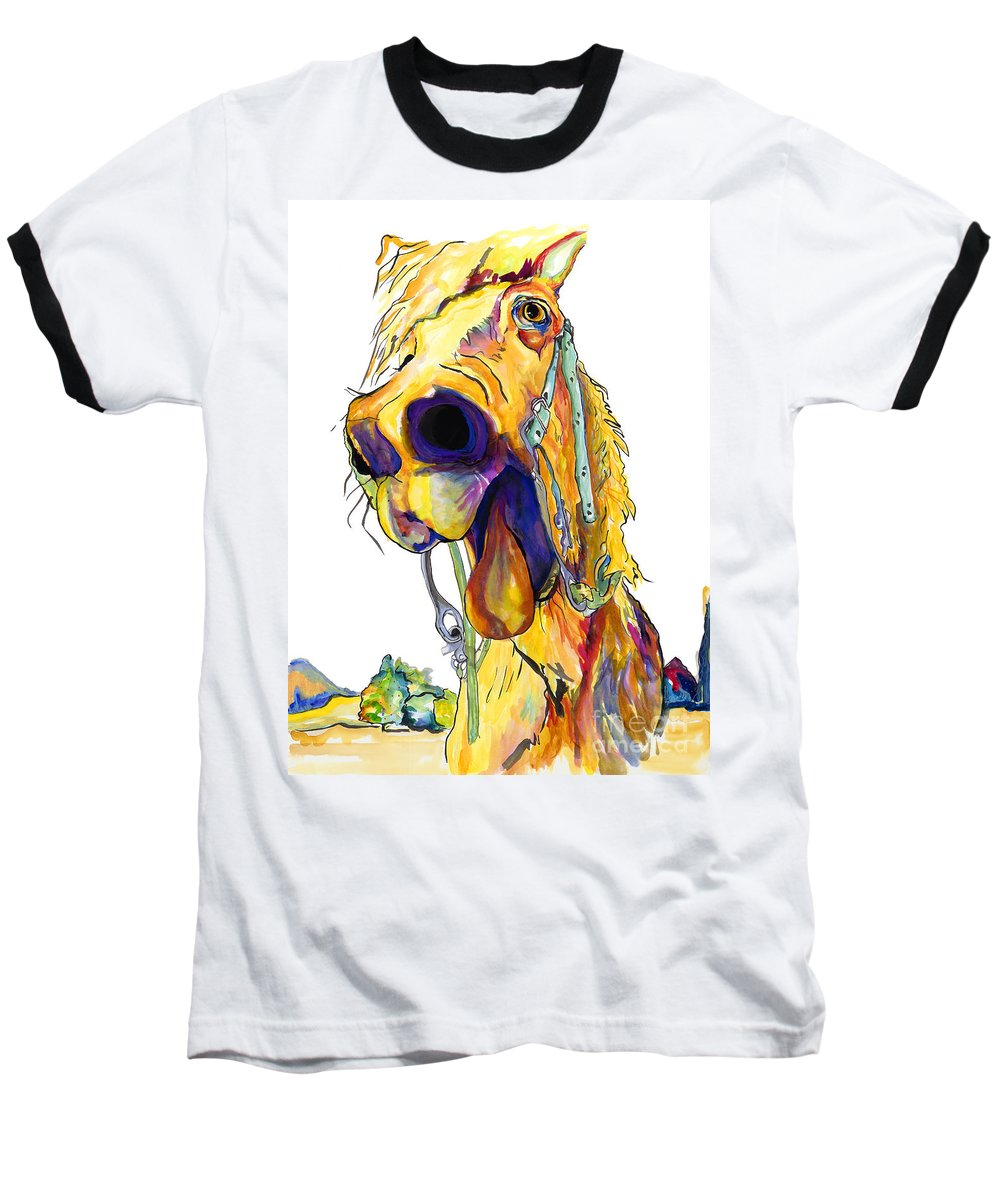 Animal Painting Baseball T-Shirt featuring the painting Horsing Around by Pat Saunders-White