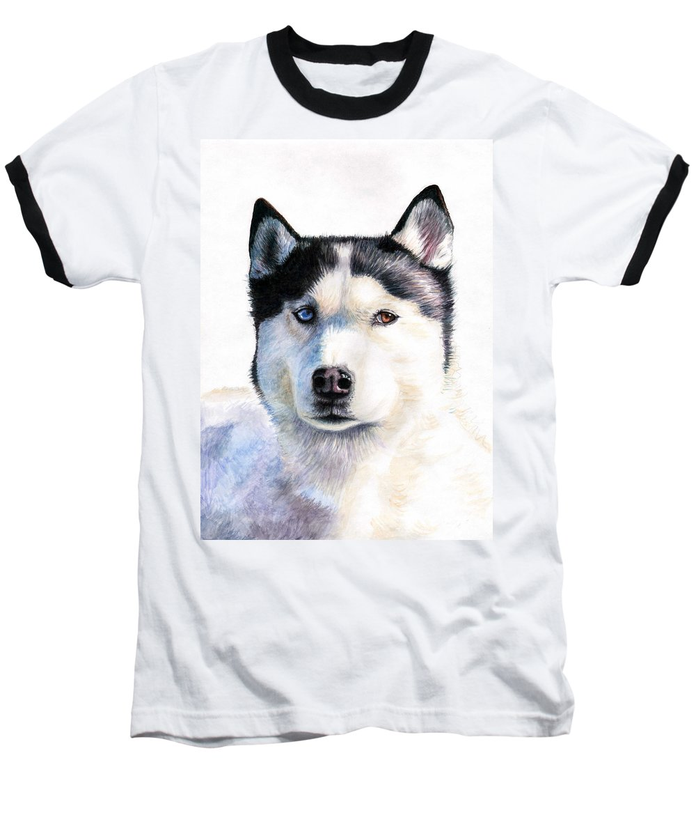 Dog Baseball T-Shirt featuring the painting Husky Blue by Nicole Zeug