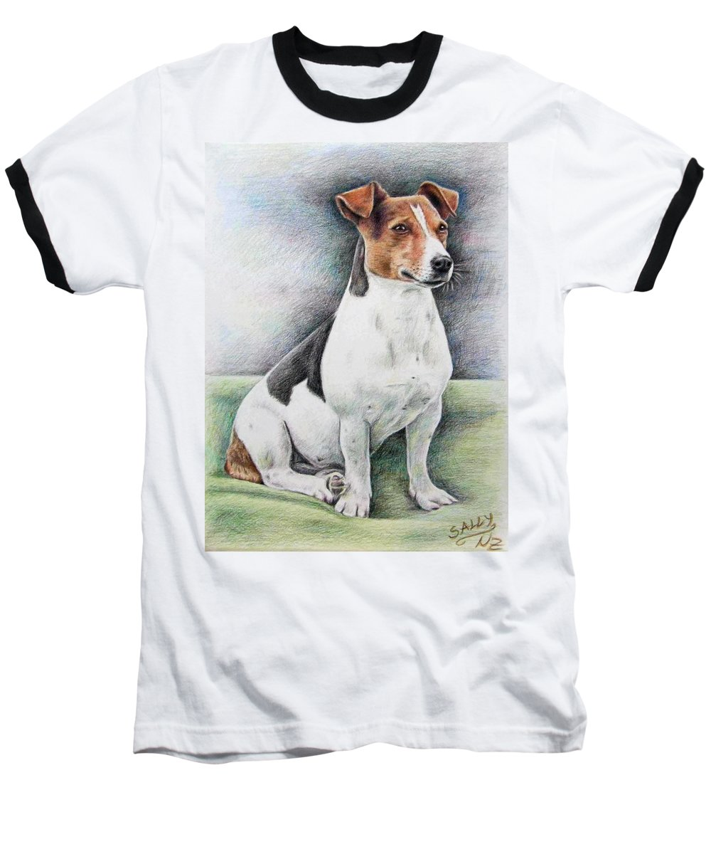 Dog Baseball T-Shirt featuring the drawing Jack Russell Terrier by Nicole Zeug