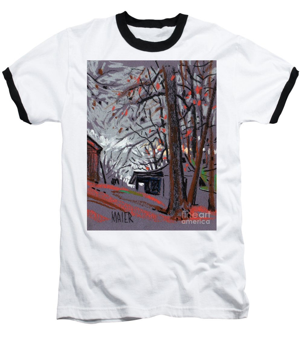 Barns Baseball T-Shirt featuring the drawing James's Barns 7 by Donald Maier