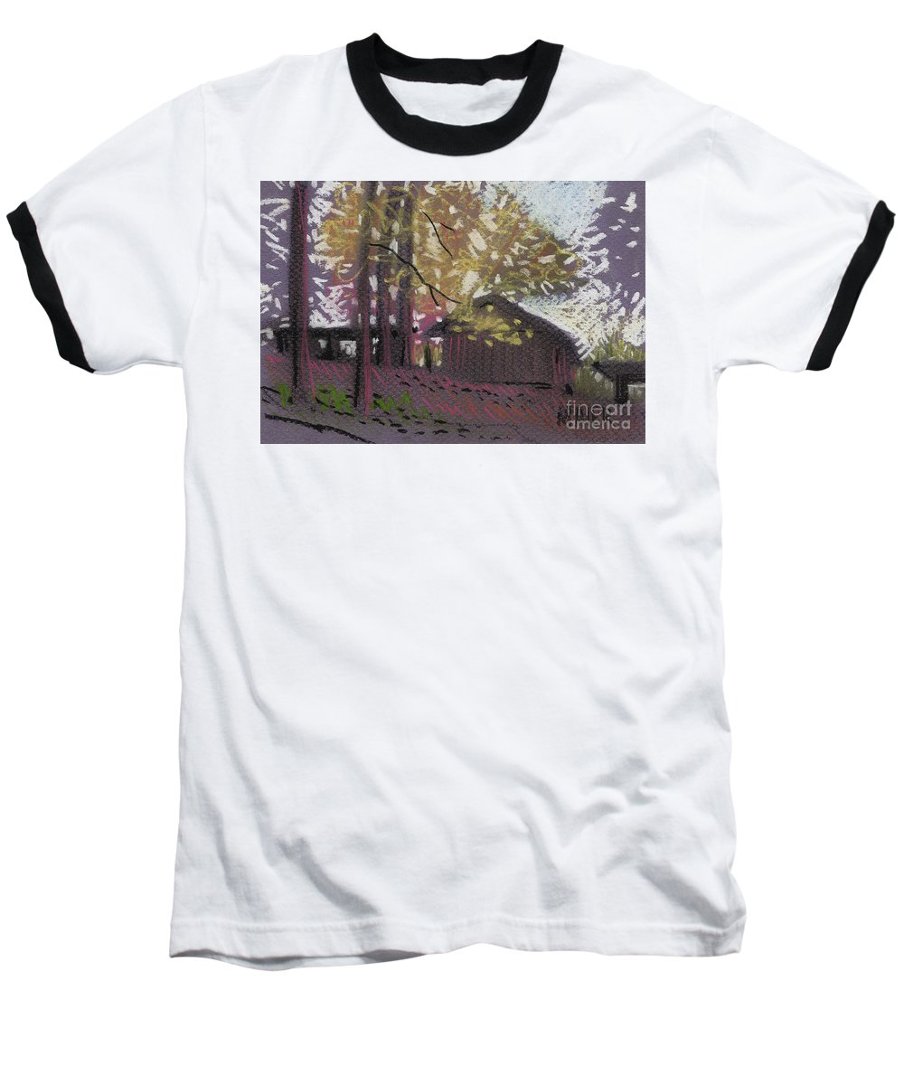 Pastel Baseball T-Shirt featuring the drawing James's Barns 9 by Donald Maier