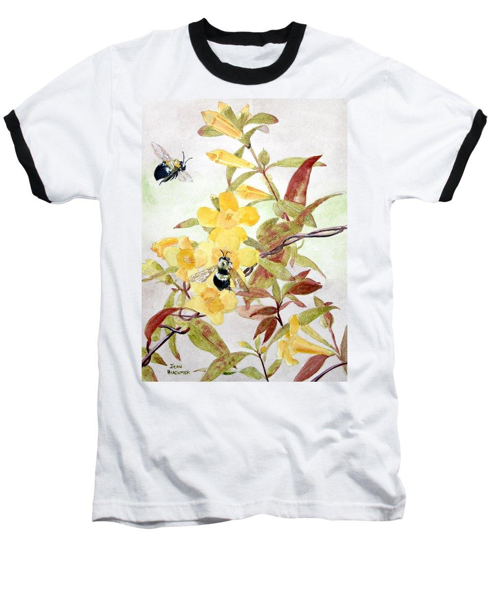 Jasmine Baseball T-Shirt featuring the painting Jessamine Bee Mine by Jean Blackmer