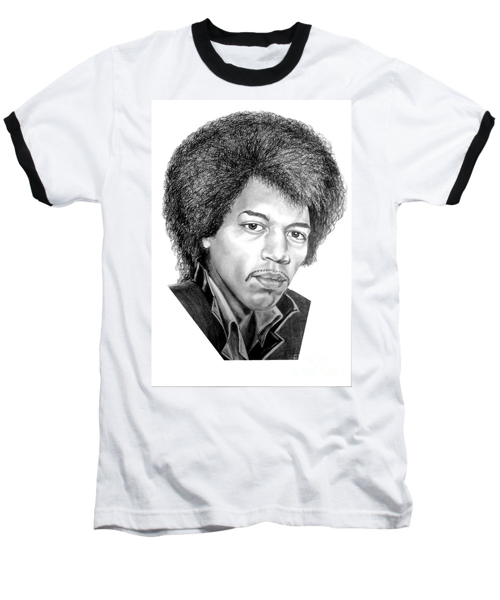 Jimmi Hendrix Baseball T-Shirt featuring the drawing Jimmi Hendrix By Murphy Art. Elliott by Murphy Elliott