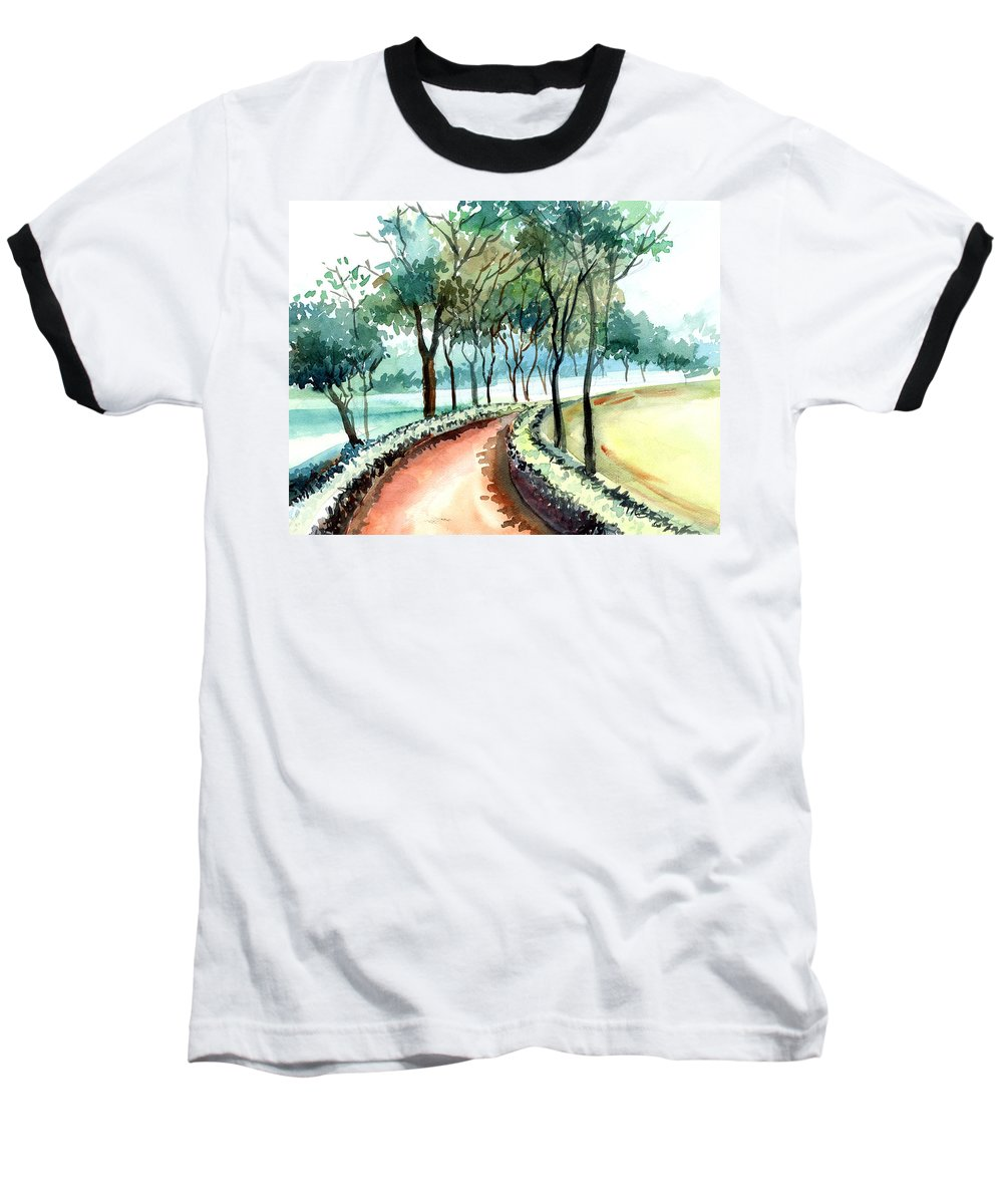 Landscape Baseball T-Shirt featuring the painting Jogging Track by Anil Nene