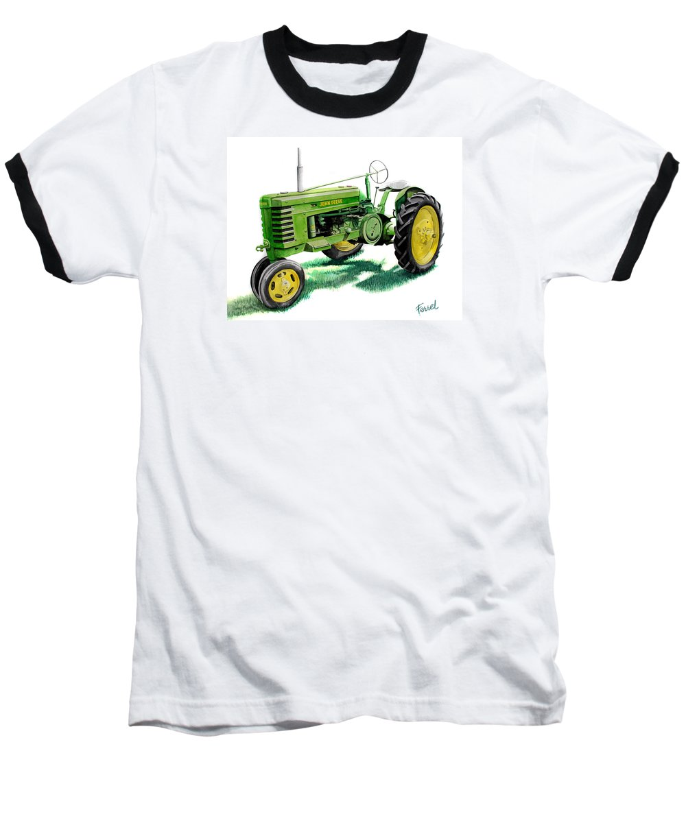 John Deere Tractor Baseball T-Shirt featuring the painting John Deere Tractor by Ferrel Cordle