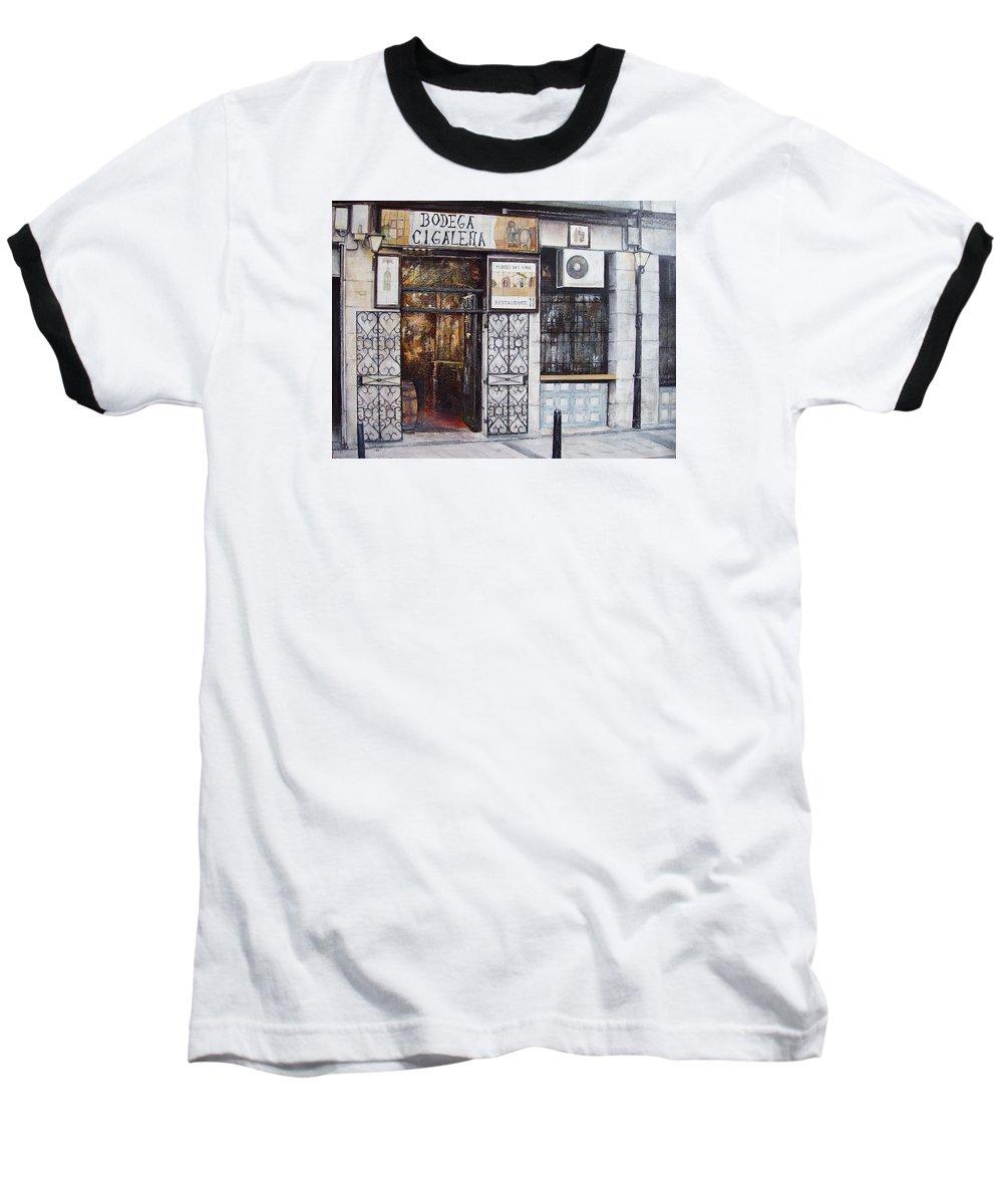 Bodega Baseball T-Shirt featuring the painting La Cigalena Old Restaurant by Tomas Castano