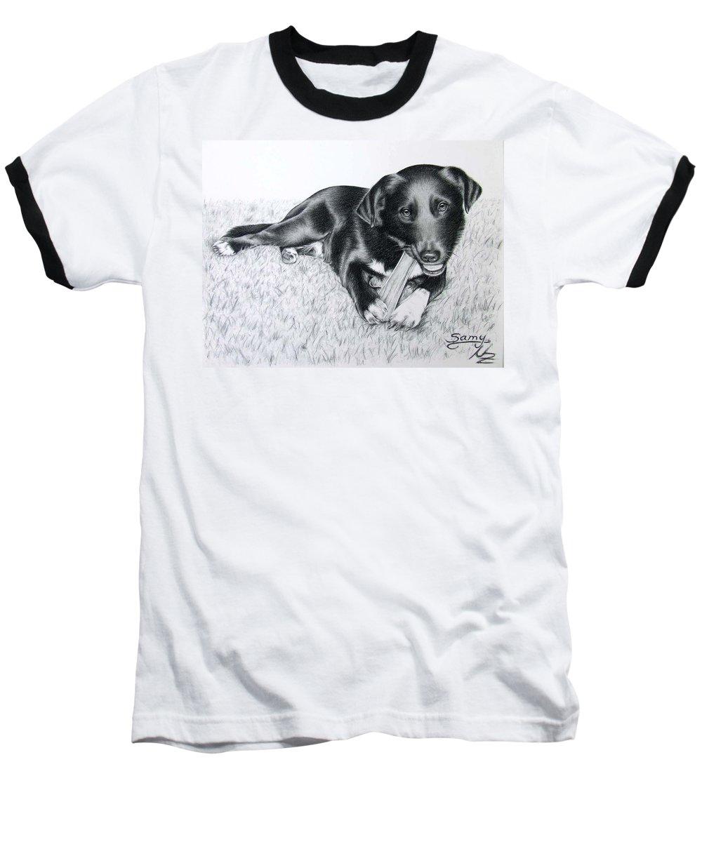 Dog Baseball T-Shirt featuring the drawing Labrador Samy by Nicole Zeug