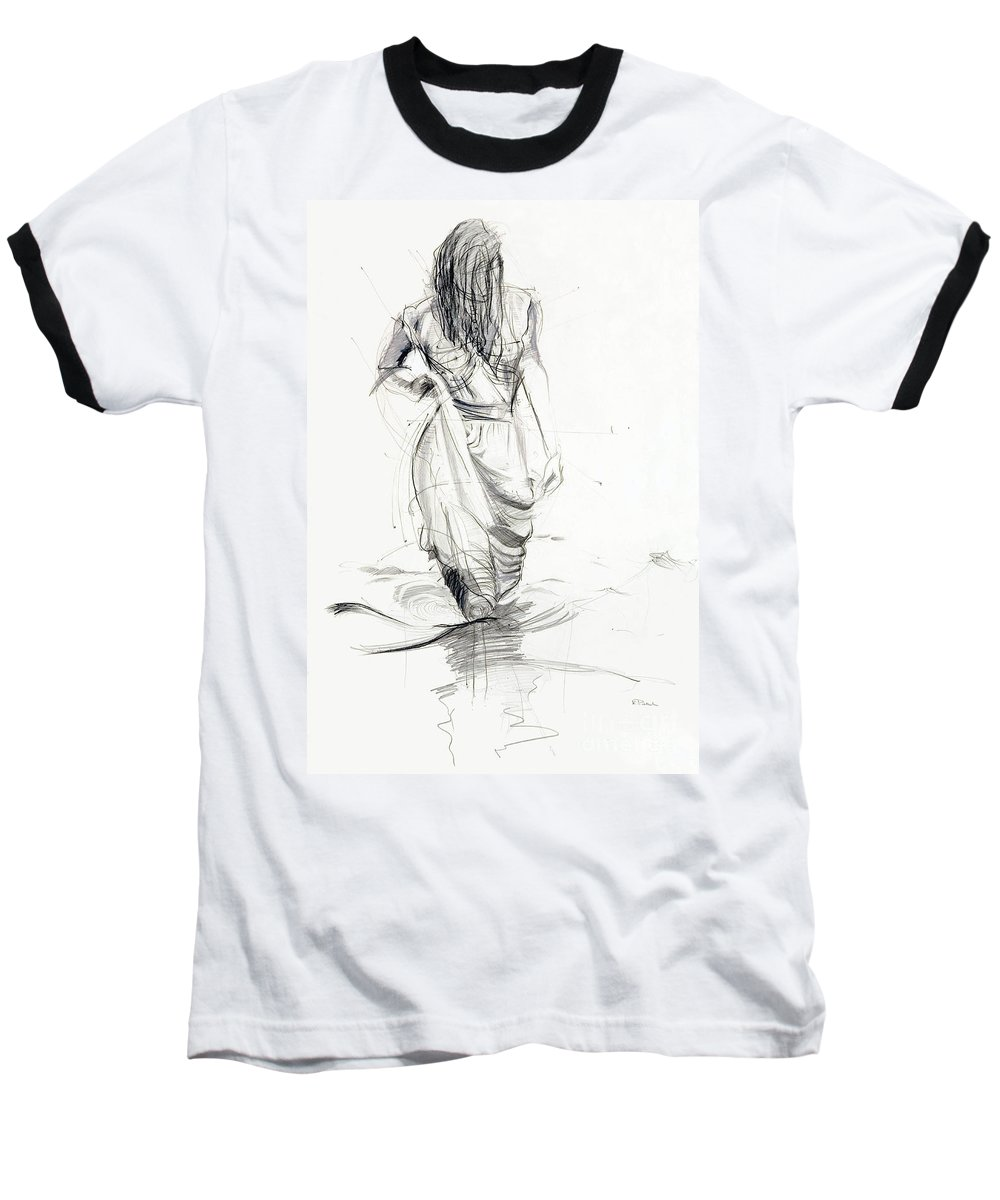 Woman Baseball T-Shirt featuring the drawing Lady In The Waters by Kerryn Madsen-Pietsch
