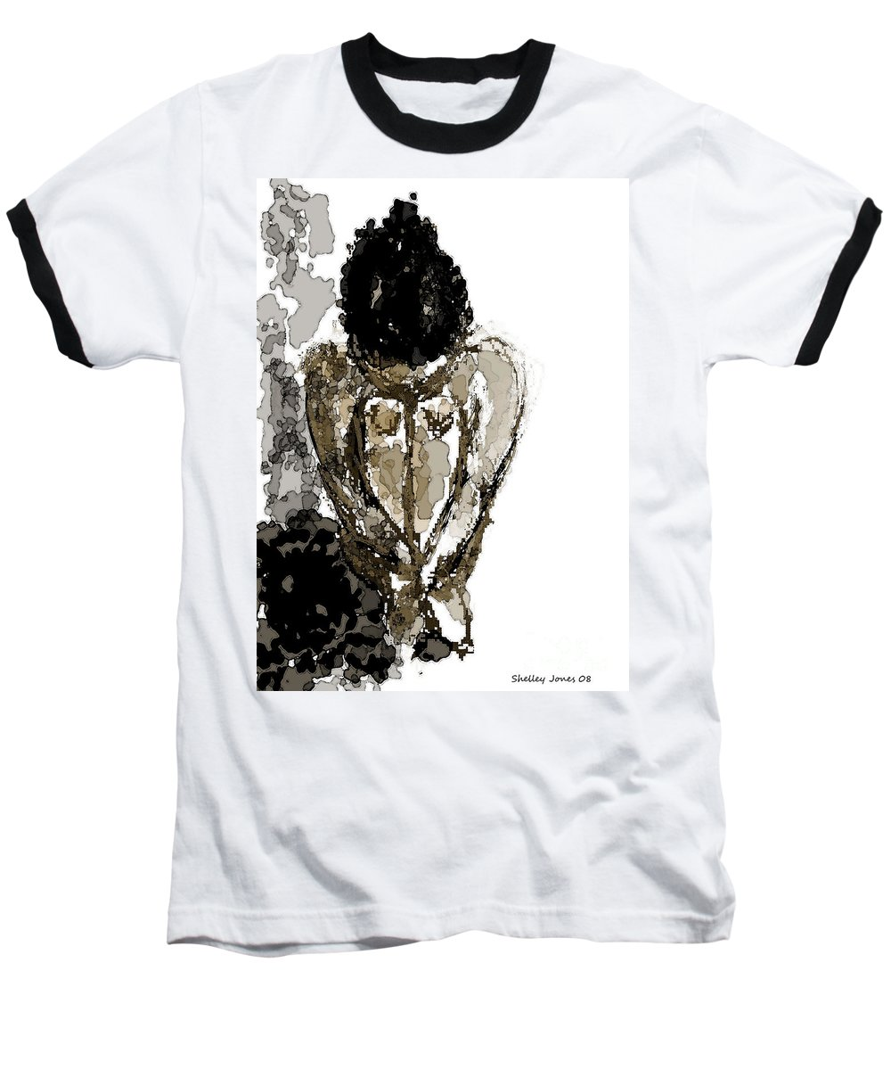 Lady Baseball T-Shirt featuring the digital art Lady Sitting by Shelley Jones