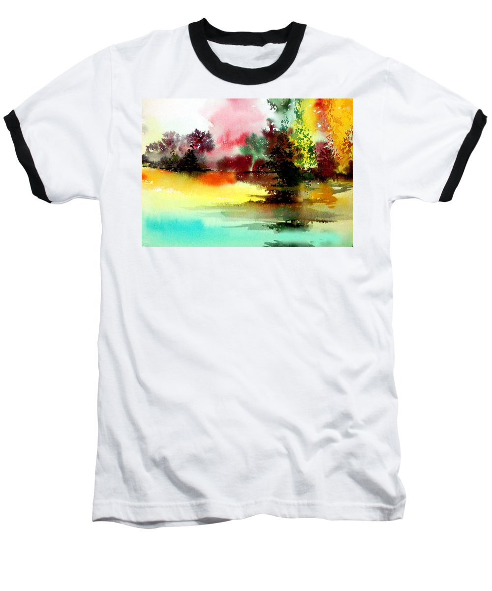 Nature Baseball T-Shirt featuring the painting Lake In Colours by Anil Nene