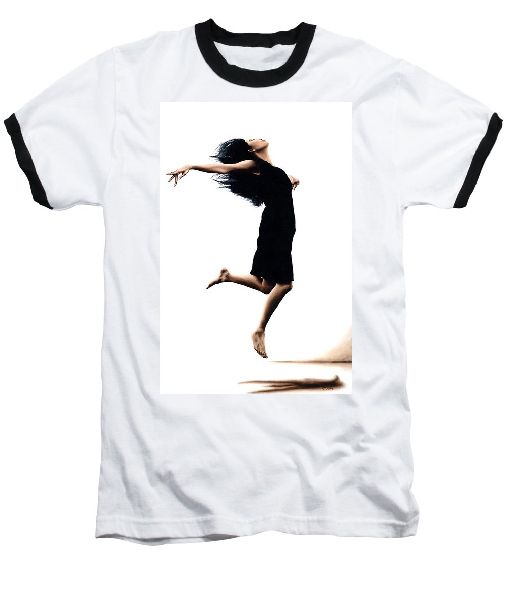 Ballet Baseball T-Shirt featuring the painting Leap Into The Unknown by Richard Young