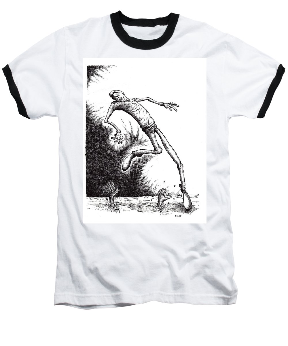 Black And White Baseball T-Shirt featuring the drawing Leap by Tobey Anderson