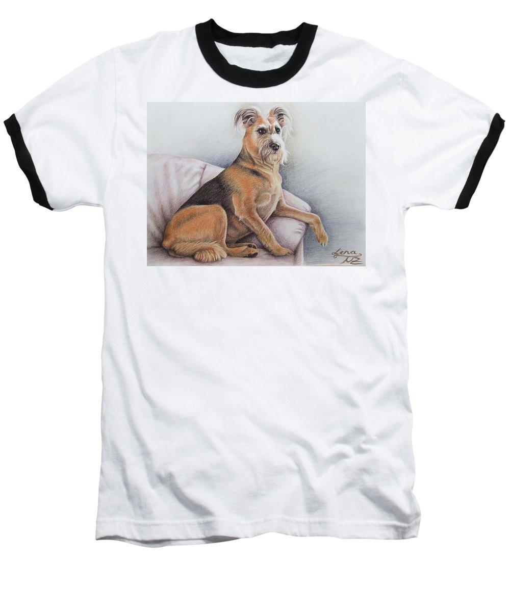 Dog Baseball T-Shirt featuring the pastel Lena by Nicole Zeug