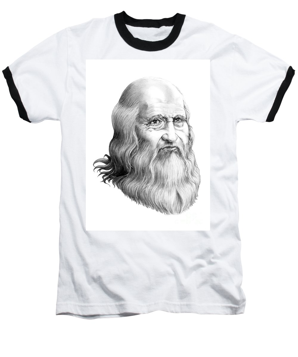 Famous Person Baseball T-Shirt featuring the drawing Leonardo Da Vinci by Murphy Elliott