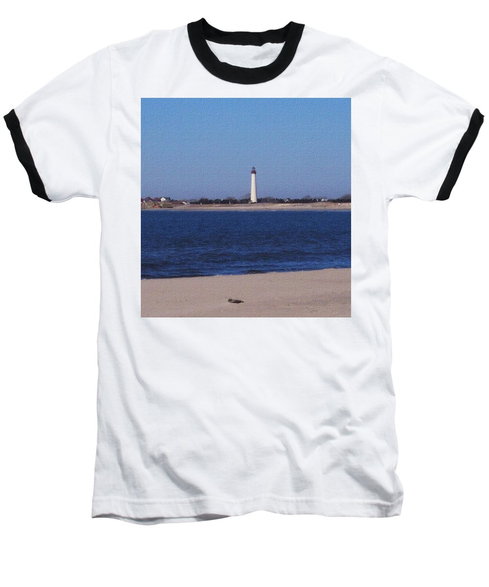 Lighthouse Baseball T-Shirt featuring the photograph Lighthouse At The Point by Pharris Art