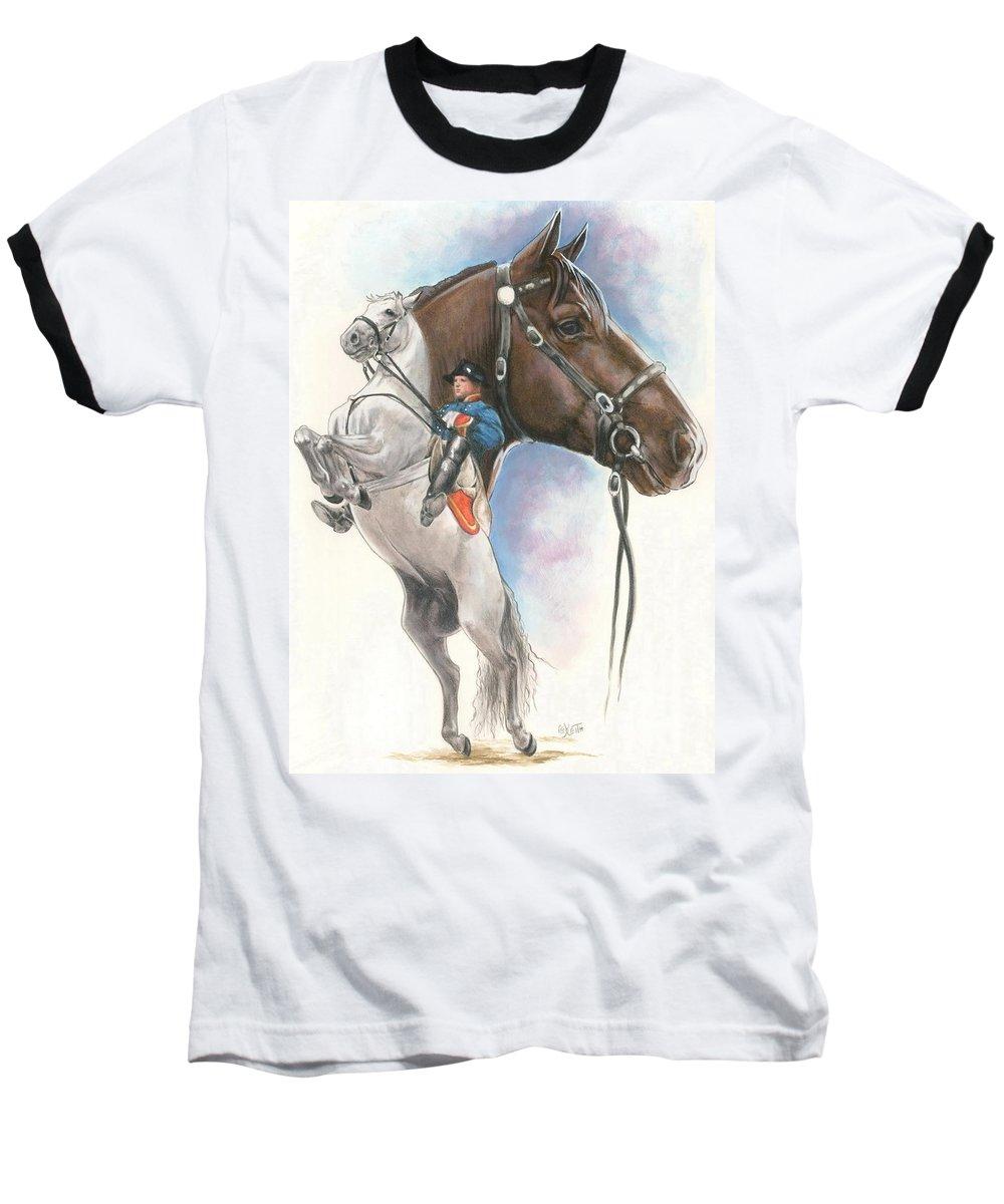 Spanish Riding School Baseball T-Shirt featuring the mixed media Lippizaner by Barbara Keith