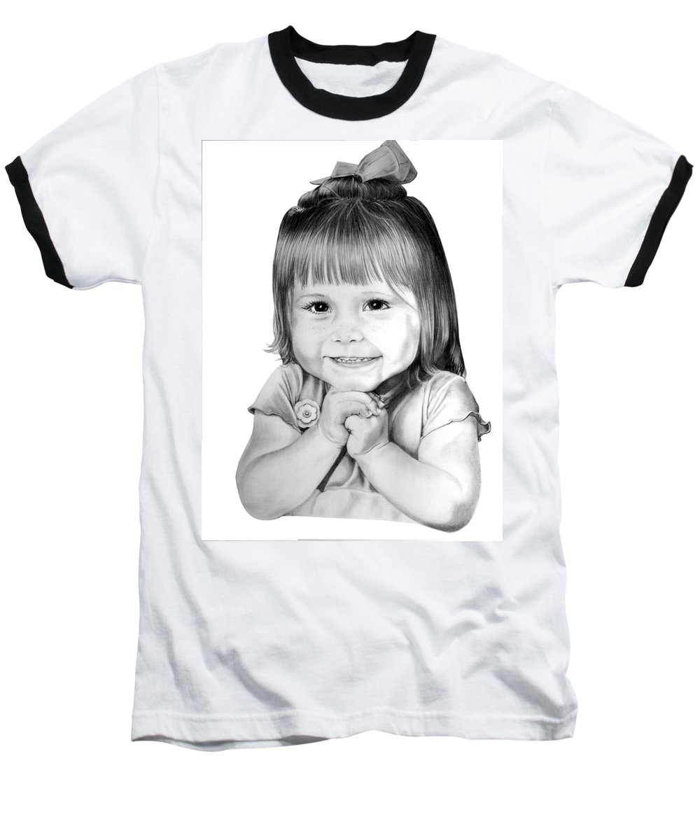 Child Baseball T-Shirt featuring the drawing Little Bailey by Murphy Elliott