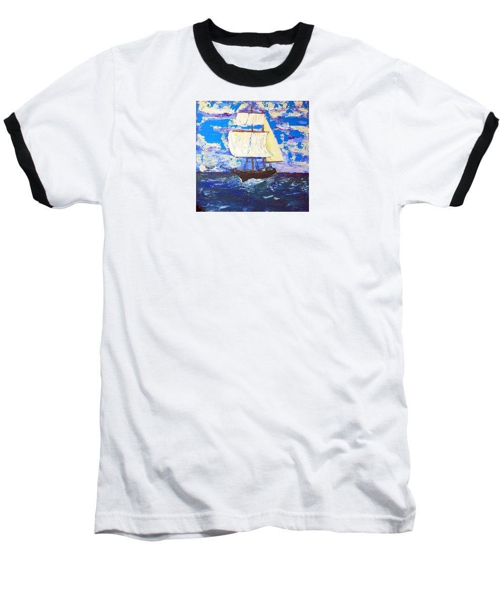 Impressionist Painting Baseball T-Shirt featuring the painting Little Clipper by J R Seymour