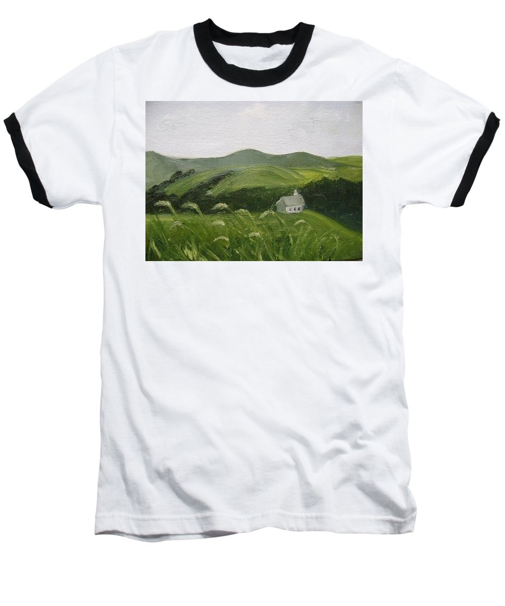 Landscape Baseball T-Shirt featuring the painting Little Schoolhouse On The Hill by Toni Berry